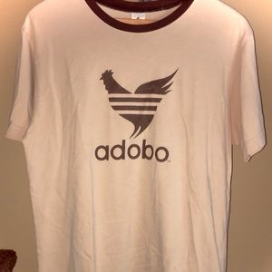 Beige Adobo Tee with Brown Neckline & Writing!